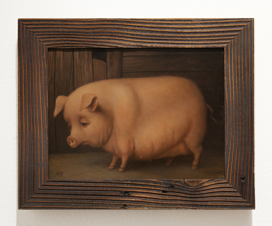 Marion  Peck -  <strong>Sad Pig</strong> (2013<strong style = 'color:#635a27'></strong>)<bR /> oil on canvas,   9 x 12 inches  (22.86 x 30.48 cm)  12 1/2 x 15 1/2 inches, framed