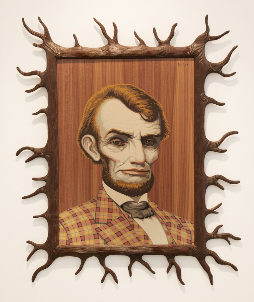 Mark  Ryden -  <strong>Wood Lincoln</strong> (2012<strong style = 'color:#635a27'></strong>)<bR /> 14-color serigraph on walnut veneered panel,   24 x 18 inches  (60.96 x 45.75 cm)  33 x 27 1/2 x 1 inches, framed,   Edition of 20