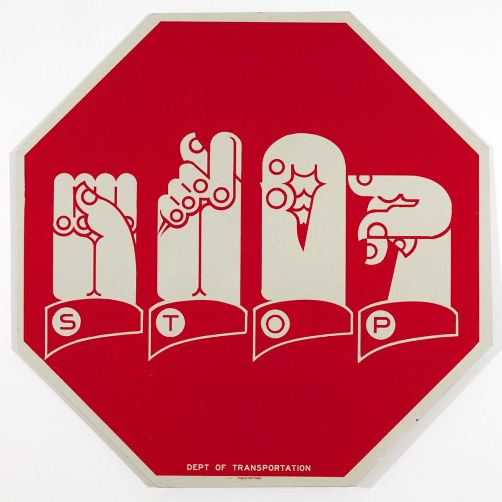 Martin  Wong (estate) -  <strong>Traffic Signs for the Hearing Impaired</strong> (1990<strong style = 'color:#635a27'></strong>)<bR /> acrylic on aluminum,   30 x 30 inches  (76.2 x 76.2 cm)