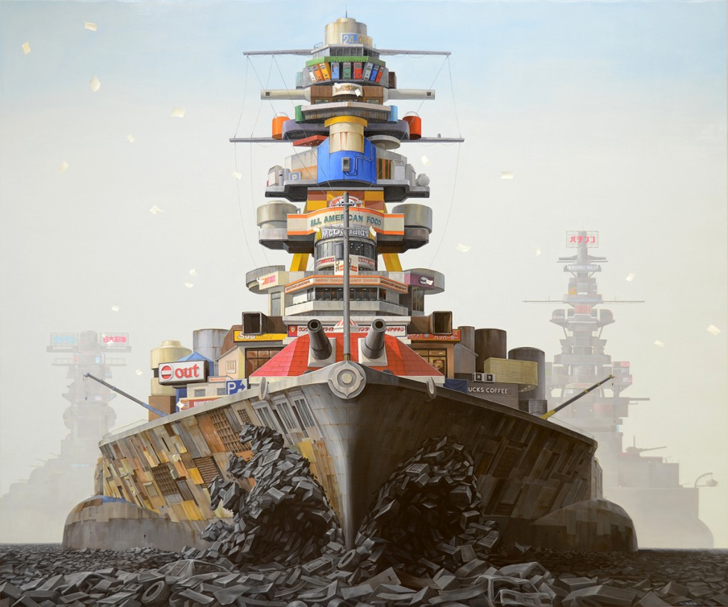 Masakatsu  Sashie -  <strong>Parade</strong> (2013<strong style = 'color:#635a27'></strong>)<bR /> oil on canvas,   63.78 x 76.37 inches  (162 x 194 cm)  64.63 x 76.38 x 2 inches, framed