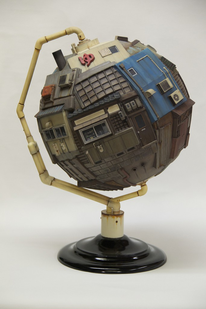 Masakatsu  Sashie -  <strong>Territorial Globe</strong> (2013<strong style = 'color:#635a27'></strong>)<bR /> resin, lacquer, enamel, acrylic, brass, copper and stainless,   16.54 x 29.53 x 1.57 inches  (42 x 75 x 4 cm),   #1 in a series of 20 unique hand painted variables