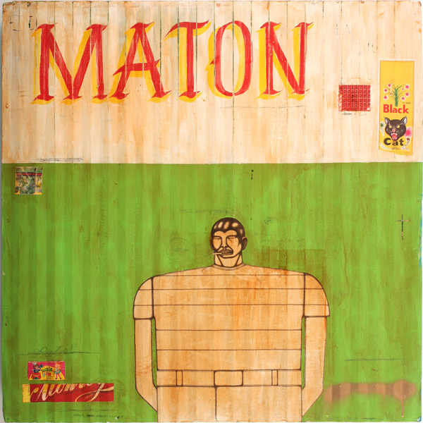 Date Farmers  &nbsp -  <strong>Maton</strong> (2010<strong style = 'color:#635a27'></strong>)<bR /> mixed media on metal,   34 x 33.5 x 2.5 inches  (86.36 x 85.09 x 6.35 cm)