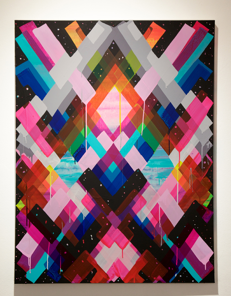 Maya  Hayuk -  <strong>Chem Trails #143</strong> (2014<strong style = 'color:#635a27'></strong>)<bR /> acrylic on panel,   48 x 36 inches  (121.92 x 91.44 cm)