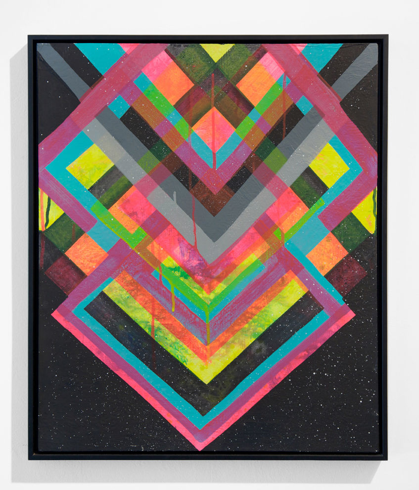 Maya  Hayuk -  <strong>Night Vision #152</strong> (2010<strong style = 'color:#635a27'></strong>)<bR /> acrylic and spray paint on canvas,   24 x 20 inches  (60.9 x 50.8 cm),   25 x 21 inches, framed
