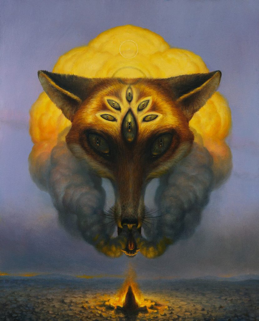 Martin Wittfooth -  <strong>Maya</strong> (2015<strong style = 'color:#635a27'></strong>)<bR /> oil and gold leaf on canvas,   32 x 26 inches  (81.28 x 66.04 cm)