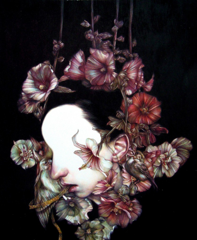 Marco  Mazzoni -  <strong>Annunciation - Gesta</strong> (2011<strong style = 'color:#635a27'></strong>)<bR /> colored pencil on paper,   22 x 18 inches  (55 x 45 cm)