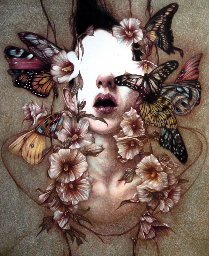 Marco  Mazzoni -  <strong>Annunciation - How to Survive the Apocalypse</strong> (2011<strong style = 'color:#635a27'></strong>)<bR /> colored pencil on paper,   22 x 18 inches  (55 x 45 cm)
