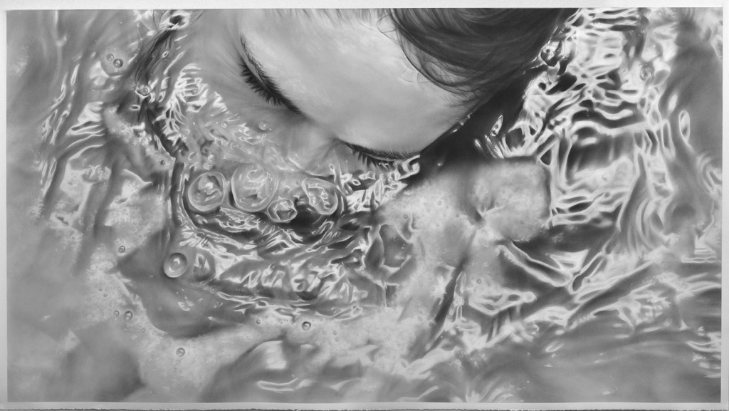 Melissa  Cooke -  <strong>Submerge</strong> (2012<strong style = 'color:#635a27'></strong>)<bR /> graphite on paper,   50 x 90 inches  (127 x 228.60 cm)