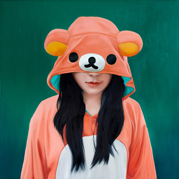 Melissa  Haslam -  <strong>Peach Bear</strong> (2011<strong style = 'color:#635a27'></strong>)<bR /> oil on canvas,   24 x 24 inches   (60.96 x 60.96 cm)