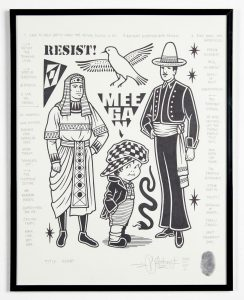 Mike  Giant -  <strong>Resist</strong> (2014<strong style = 'color:#635a27'></strong>)<bR /> Sharpie markers on Canson drawing paper with pencil notes and the artist's right thumbprint,   11 x 14 inches  (27.24 x 35.56 cm)