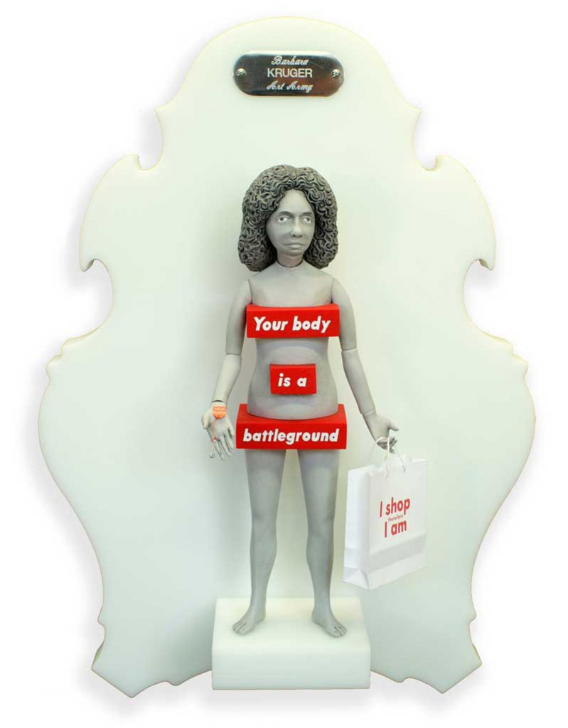 Michael  Leavitt -  <strong>Barbara Kruger</strong> (2011<strong style = 'color:#635a27'></strong>)<bR /> polymer clay and mixed media,   11 x 4 x 2 inches, unframed  18 x 12 x 6 inches, framed
