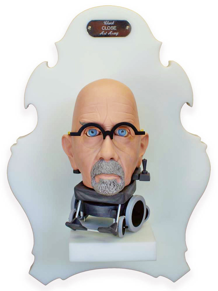 Michael  Leavitt -  <strong>Chuck Close</strong> (2011<strong style = 'color:#635a27'></strong>)<bR /> polymer clay and mixed media,   8 x 5 x 6 inches, unframed  18 x 12 x 6 inches, framed