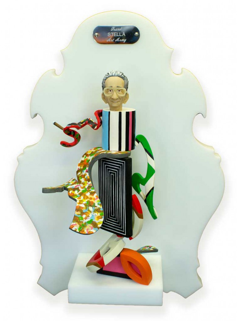 Michael  Leavitt -  <strong>Frank Stella</strong> (2011<strong style = 'color:#635a27'></strong>)<bR /> polymer clay and mixed media,   11 x 4 x 3 inches, unframed  18 x 12 x 6 inches, framed