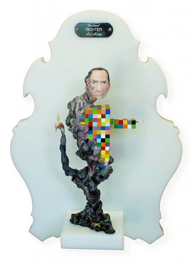 Michael  Leavitt -  <strong>Gerhard Richter</strong> (2011<strong style = 'color:#635a27'></strong>)<bR /> polymer clay and mixed media,   11 x 4 x 3 inches, unframed  18 x 12 x 6 inches, framed
