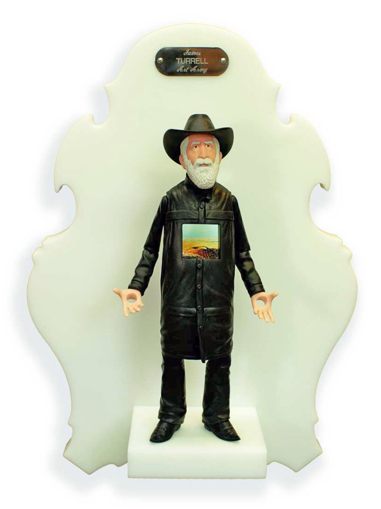 Michael  Leavitt -  <strong>James Turrell</strong> (2011<strong style = 'color:#635a27'></strong>)<bR /> polymer clay and mixed media,   11 x 3 x 2 inches, unframed  18 x 12 x 6 inches, framed