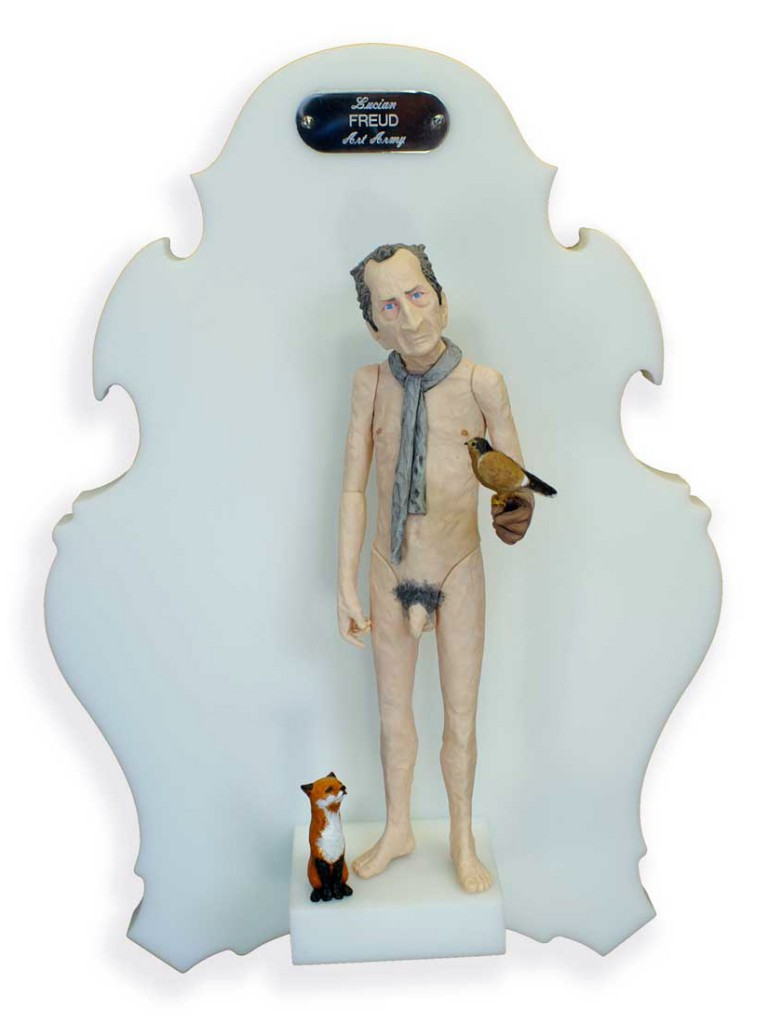 Michael  Leavitt -  <strong>Lucian Freud</strong> (2011<strong style = 'color:#635a27'></strong>)<bR /> polymer clay and mixed media,   11 x 3 x 3 inches, unframed  18 x 12 x 6 inches, framed