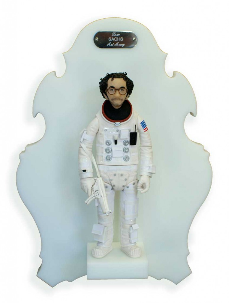 Michael  Leavitt -  <strong>Tom Sachs</strong> (2011<strong style = 'color:#635a27'></strong>)<bR /> polymer clay and mixed media,   11 x 3 x 2 inches, unframed  18 x 12 x 6 inches, framed