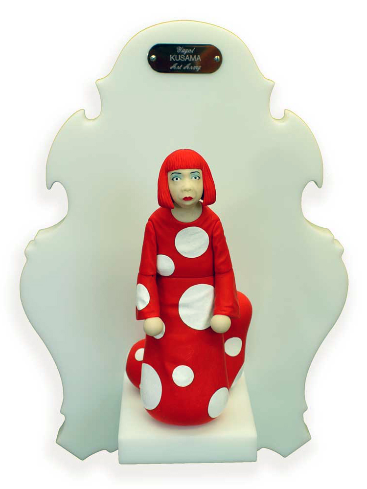 Michael  Leavitt -  <strong>Yayoi Kusama</strong> (2011<strong style = 'color:#635a27'></strong>)<bR /> polymer clay and mixed media,   9 x 4 x 3 inches, unframed  18 x 12 x 6 inches, framed