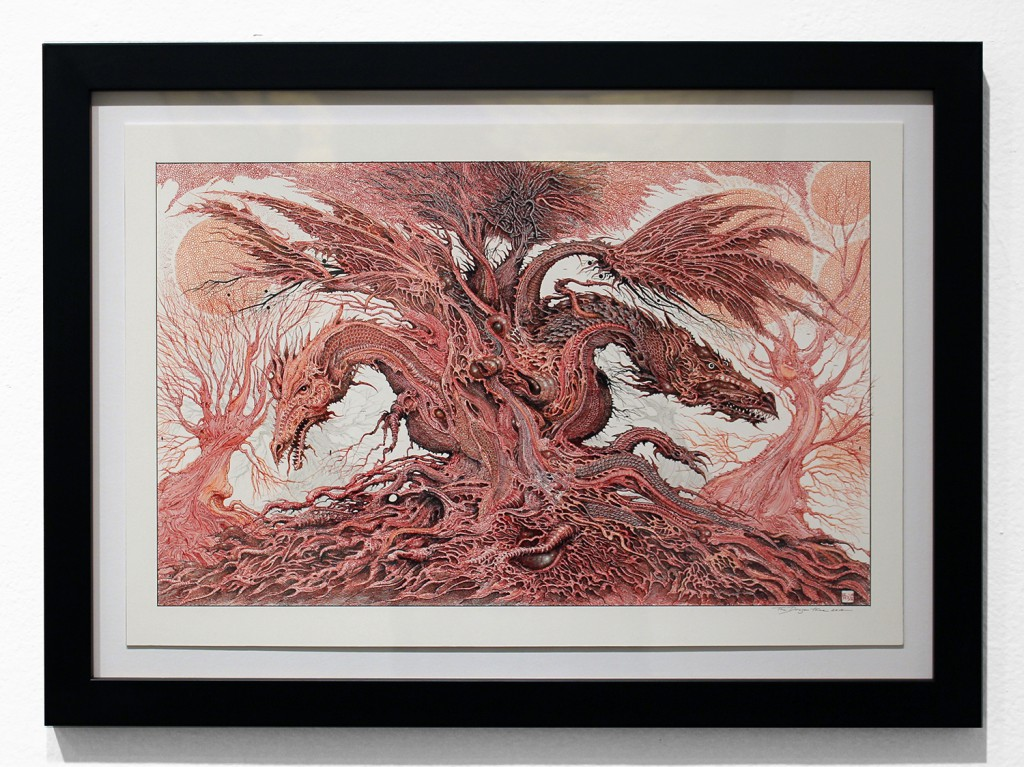 Ian  Miller -  <strong>The Red Dragon Tree</strong> (2014<strong style = 'color:#635a27'></strong>)<bR /> ink and pencil on Schoellershammer 4G illustration board,   17.72 x 11.02 inches  (45 x 28 cm)