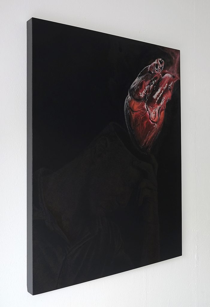 Onur  Dinc -  <strong>Mind</strong> (2015<strong style = 'color:#635a27'></strong>)<bR /> acrylic and pigments on wood-canvas,   51.18 x 39.37 inches  (130 x 100 cm)
