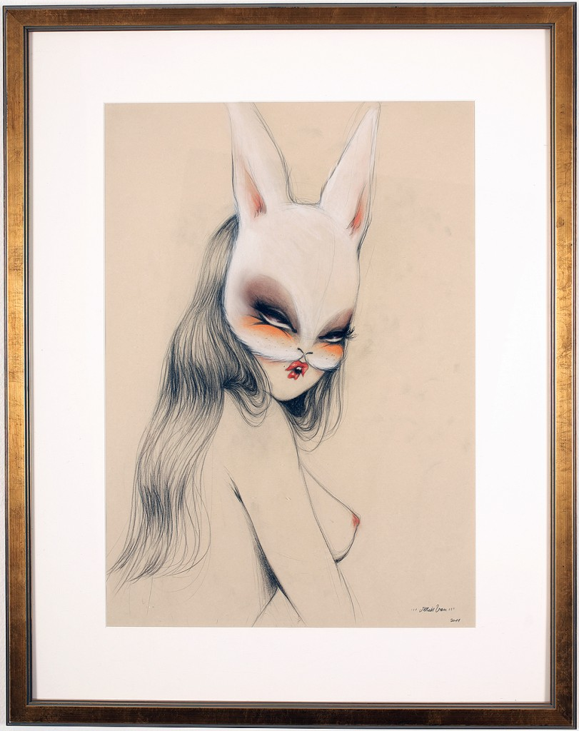 Miss Van  &nbsp -  <strong>Bunnylover 2</strong> (2011<strong style = 'color:#635a27'></strong>)<bR /> pastel and pencil on paper,   27.5 x 19.625 inches (70 x 50 cm)  37.125 x 29.5 inches, framed