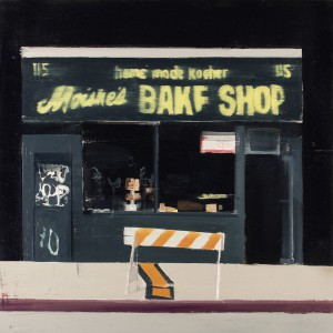 Brett Amory -  <strong>Moishe's Bake Shop (Waiting #252)</strong> (2015<strong style = 'color:#635a27'></strong>)<bR /> oil on canvas,   20 x 20 inches  (50.8 x 50.8 cm)