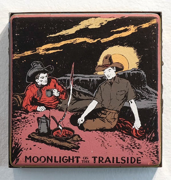 Faile  &nbsp -  <strong>Moonlight</strong> (2014<strong style = 'color:#635a27'></strong>)<bR /> acrylic and silkscreen ink on wood, steel frame,   8 x 8 x 3 inches  (20.32 x 20.32 x 7.62 cm)