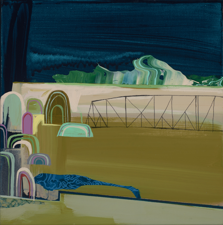 Seonna  Hong -  <strong>More Bridges, Less Walls</strong> (2015<strong style = 'color:#635a27'></strong>)<bR /> acrylic on canvas,   12 x 12 inches  (30.48 x 30.48 cm)