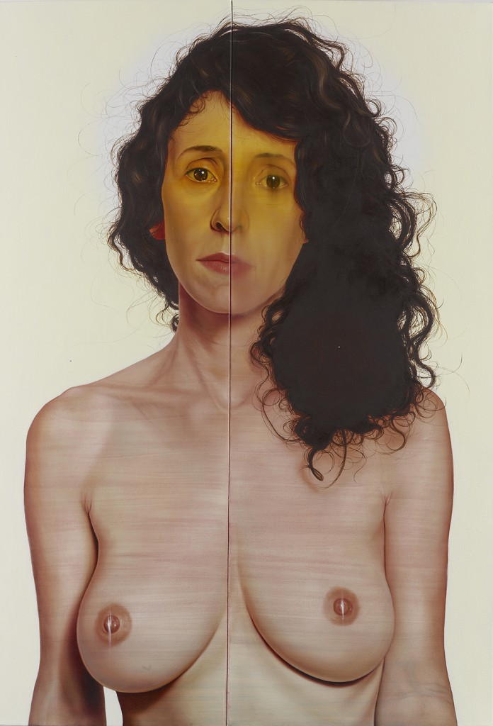 Jenny  Morgan -  <strong>We Are Not Alone</strong> (2013<strong style = 'color:#635a27'></strong>)<bR /> oil on canvas,   55 x 39 inches  (139.7 x 99.06 cm)