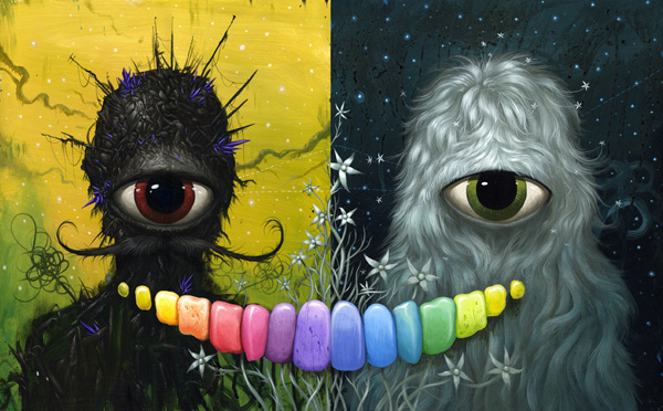Jeff  Soto -  <strong>Mother and Father</strong> (2010<strong style = 'color:#635a27'></strong>)<bR /> acrylic on panel  20 x 32 inches  (50.8 x 81.28 cm)