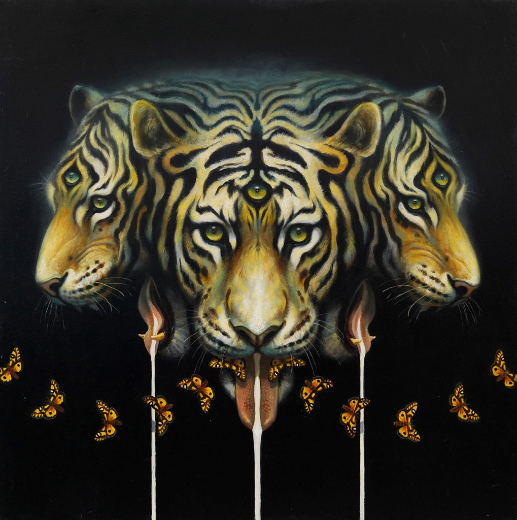 Martin Wittfooth -  <strong>Mother's Milk</strong> (2015<strong style = 'color:#635a27'></strong>)<bR /> oil and gold leaf on canvas,   38 x 38 inches  (96.52 x 96.52 cm)