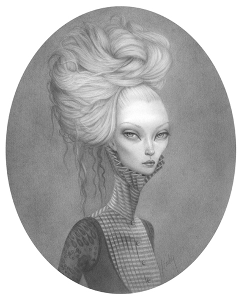 Lori  Earley -  <strong>Ms. V</strong> (2007<strong style = 'color:#635a27'></strong>)<bR /> Graphite on paper,   Image size: 10 x 8 inches,   Framed size: 18 1/2 x 16 3/4 inches