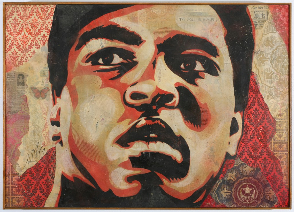 Shepard Fairey -  <strong>Muhamed Ali</strong> (2007<strong style = 'color:#635a27'></strong>)<bR /> silkscreen collage on canvas