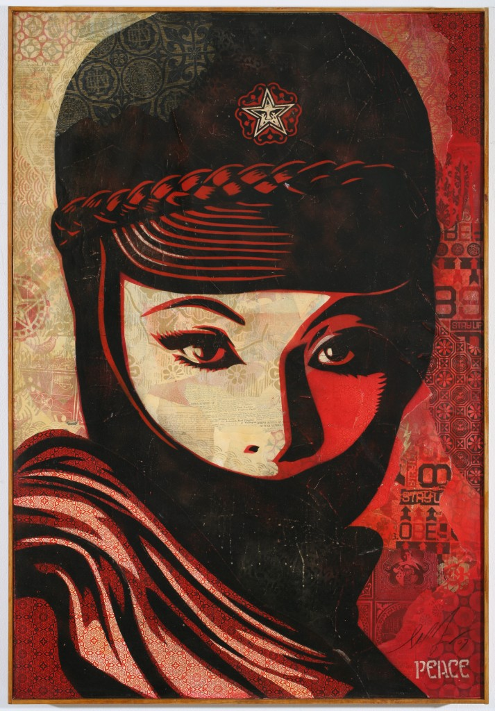 Shepard Fairey -  <strong>Mujer Fatal</strong> (2007<strong style = 'color:#635a27'></strong>)<bR /> mixed media on canvas 5 x 5 feet