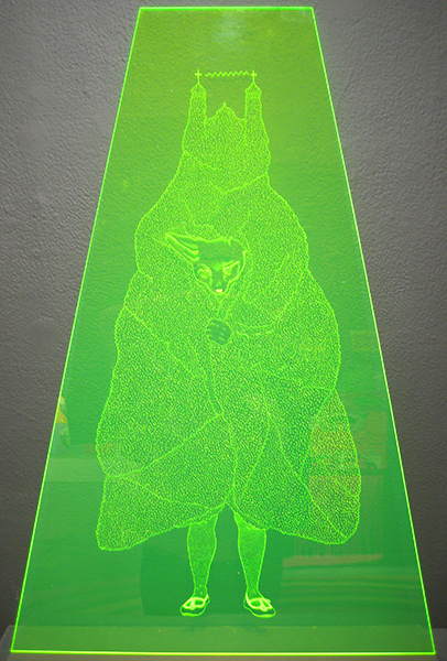 Amor  Muñoz -  <strong>Purity Castle I</strong> (2009<strong style = 'color:#635a27'></strong>)<bR /> engraving on acrylic sheet,   35 3/8 x 23 5/8 in. (90 x 60 cm)