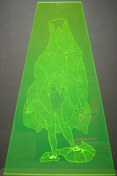 Amor  Muñoz -  <strong>Purity Castle II</strong> (2009<strong style = 'color:#635a27'></strong>)<bR /> engraving on acrylic sheet,   35 3/8 x 23 5/8 in. (90 x 60 cm)