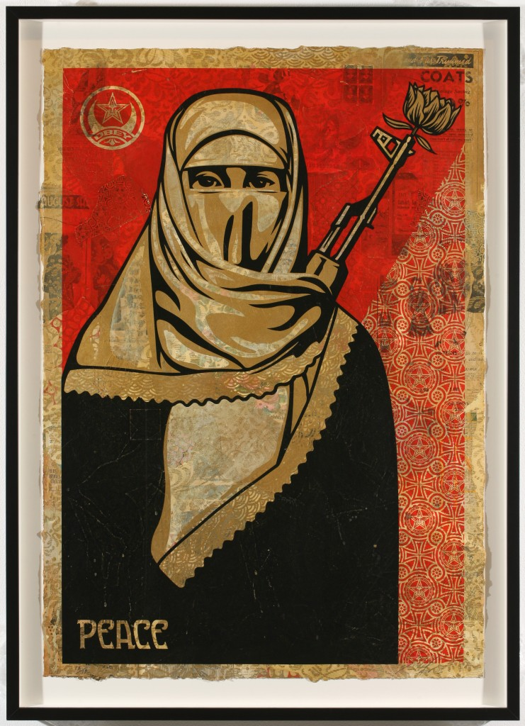 Shepard Fairey -  <strong>Muslim Woman</strong> (2007<strong style = 'color:#635a27'></strong>)<bR /> hand painted multiple, screened collage on paper 29 x 42 inches