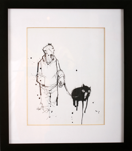 Hamilton  Yokota (Titi Freak) -  <strong>My Friend</strong> (2008<strong style = 'color:#635a27'></strong>)<bR /> Spray Paint on Paper,   Image size: 10 x 8 inches,   Framed size: 15 3/4 x 13 1/2 inches