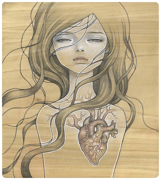 Audrey  Kawasaki -  <strong>My Dishonest Heart</strong> (2008<strong style = 'color:#635a27'></strong>)<bR /> UltraChrome print on 300 gsm paper,   12 x 11 inches (30.48 x 27.94 cm)  14.75 x 13.75 inches, framed,   Edition 4 of 20, AP