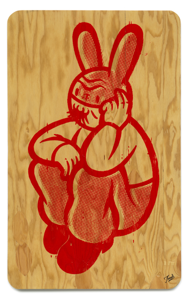 Gary  Taxali -  <strong>My Feelings #2</strong> (2009<strong style = 'color:#635a27'></strong>)<bR /> ink on plywood,   32 x 20 inches