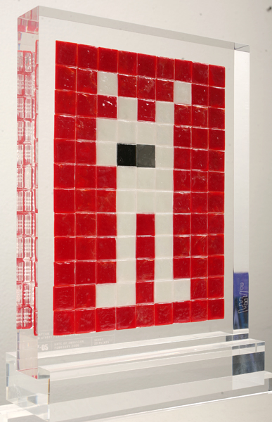 "Invader  &nbsp -  <strong>Alias NY_05</strong> (2008<strong style = 'color:#635a27'></strong>)<bR /> <font face=""Arial"">ceramic tiles in resin</font>,   <font face=""Arial"">11 1/2 x 8 3/4 x 2 inches, plus stand </font>[29.2 x 22.2 x 5.1 cm],    ,    <font face=""Arial""><font face=""Arial"">Every Invader put up in the street can be reproduced as an Alias, which is a single replica of the original preserved in a transparent block of resin. The Alias also comes with an ID card that documents the location of the original piece. There is only one Alias produced per Invader.</font></font>,   <font face=""Arial"">NY_05 is the Alias of the Invader placed in February 2000. The price of each Alias is based on Invader's self-imposed ""score"" for difficulty and size. NY_05 is 20 points.</font>"
