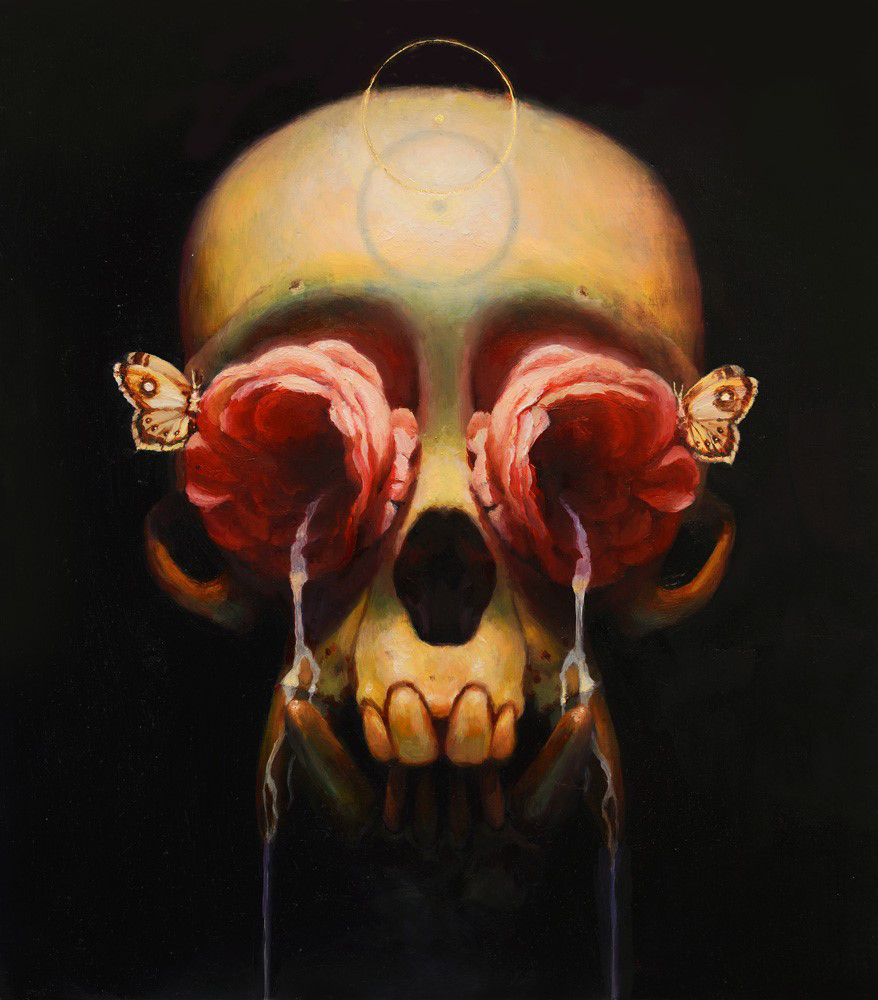 Martin Wittfooth -  <strong>Nectar</strong> (2015<strong style = 'color:#635a27'></strong>)<bR /> oil and gold leaf on canvas,   12.5 x 11 inches  (31.75 x 27.94 cm)