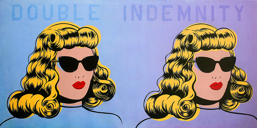Niagara  &nbsp -  <strong>Double Indemnity</strong> (2014<strong style = 'color:#635a27'></strong>)<bR /> acrylic on canvas,   24 x 48 inches  (60.96 x 121.92 cm)
