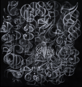 Nick  Walker -  <strong>Ascension</strong> (2015<strong style = 'color:#635a27'></strong>)<bR /> spray paint on canvas,   34.25 x 35.83 x 1.57 inches  (87 x 91 x 4 cm)