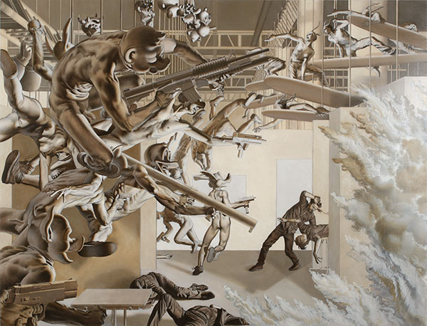Nicola  Verlato -  <strong>Another Episode of Violence in the Never Ending Fight Between Images and Written Language in Western Civilization</strong> (2010<strong style = 'color:#635a27'></strong>)<bR /> oil on panel,   36 x 48 inches  (91.44 x 121.92 cm)