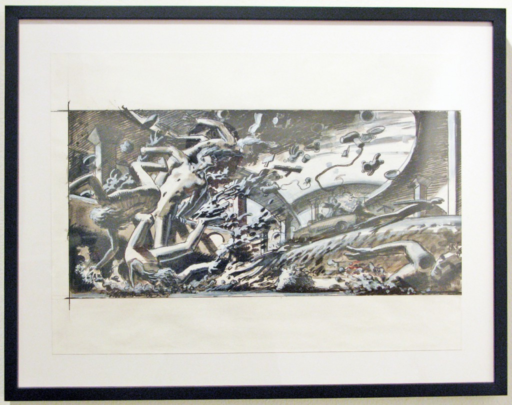 Nicola  Verlato -  <strong>Big Car Crash</strong> (2011<strong style = 'color:#635a27'></strong>)<bR /> graphite and india ink on paper,   15.75 x 23 inches (40 x 48.42 cm)  21.75 x 27.875 x 1.25 inches, framed
