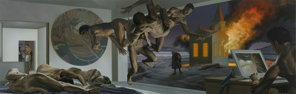 Nicola  Verlato -  <strong>Burzum</strong> (2012<strong style = 'color:#635a27'></strong>)<bR /> oil on canvas,   62.75 x 168 inches  (159.38 x 426.72 cm)