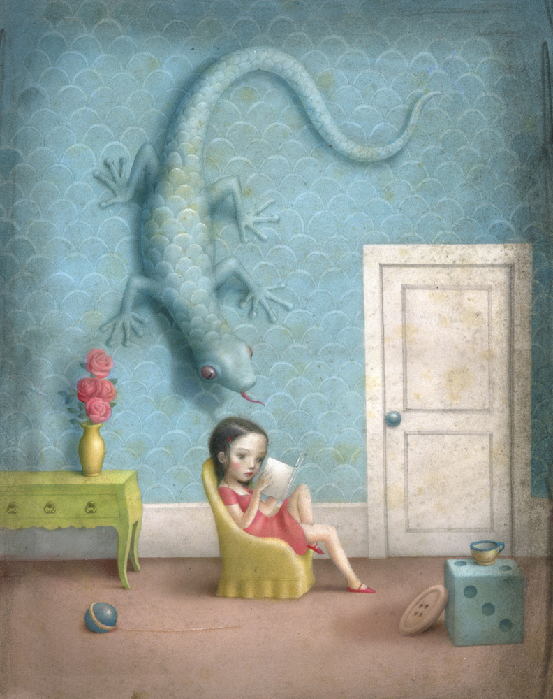 Nicoletta  Ceccoli -  <strong>Storyteller</strong> (<strong style = 'color:#635a27'></strong>)<bR /> acrylic on paper,   13.5 x 10.5 inches (34.29 x 26.67 cm)  17.5 x 14.5 inches, framed