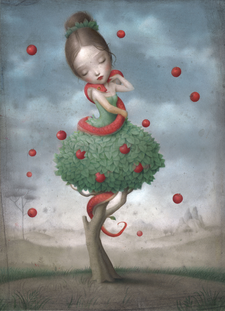 Nicoletta  Ceccoli -  <strong>Bliss</strong> (<strong style = 'color:#635a27'></strong>)<bR /> acrylic on paper,   13.5 x 10.5 inches (34.29 x 26.67 cm)  17.5 x 14.5 inches, framed