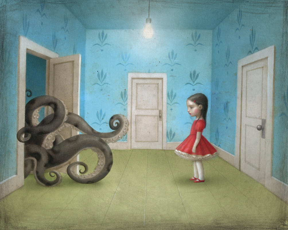 Nicoletta  Ceccoli -  <strong>Visitation</strong> (2011<strong style = 'color:#635a27'></strong>)<bR /> acrylic on paper,   7.5 x 9.5 inches (19 x 24 cm)  11.5 x 13.5 inches, framed